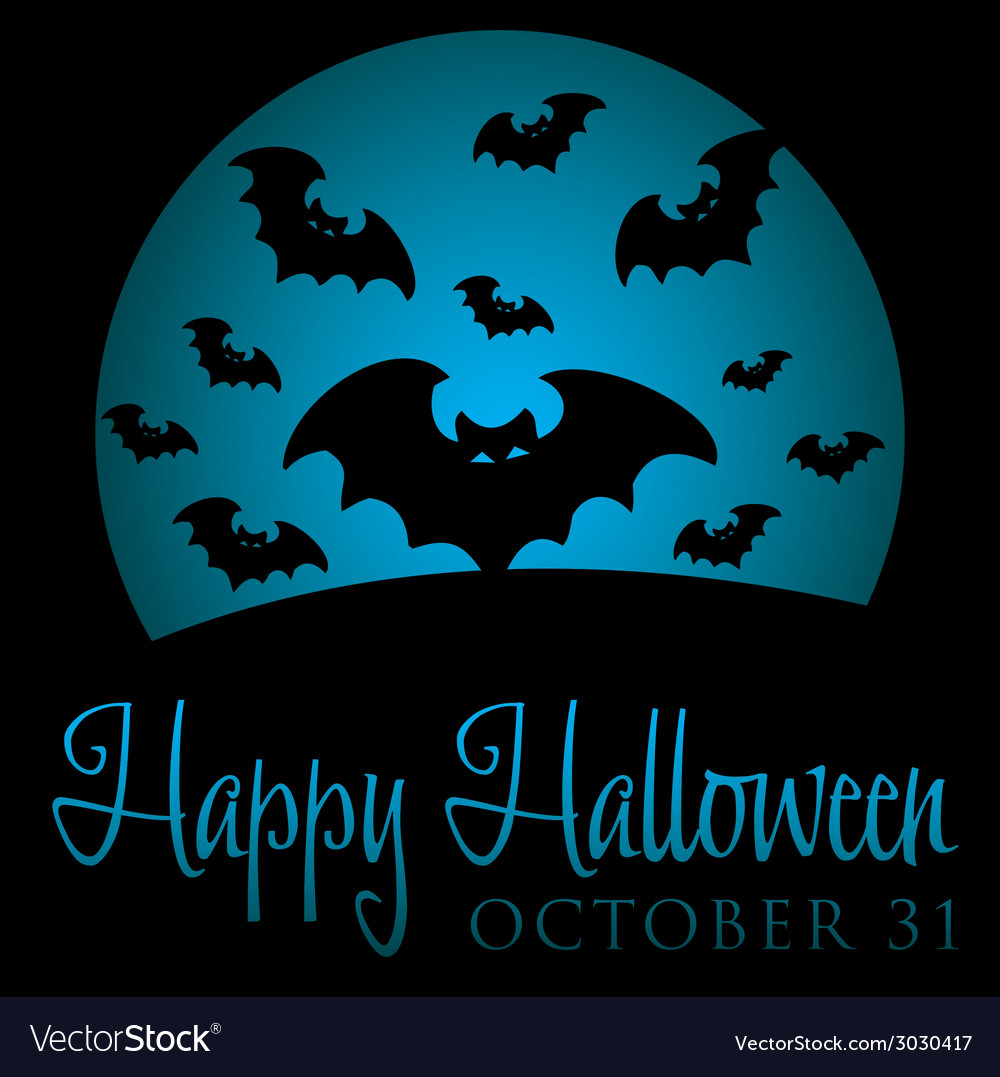 Bat rising moon halloween card in format vector | Price: 1 Credit (USD $1)