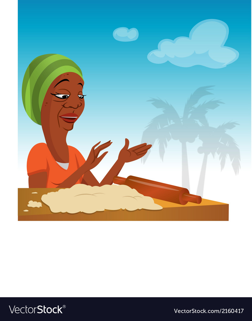 Black lady rolling dough vector   Price: 1 Credit (USD $1)
