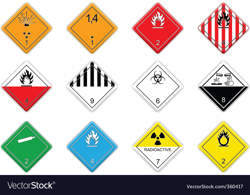Cargo hazardous signs vector | Price: 1 Credit (USD $1)