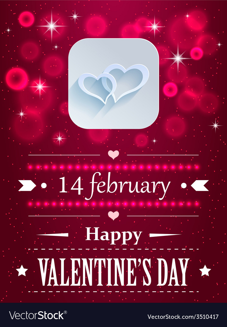 Design with hearts and flares for valentines day vector | Price: 1 Credit (USD $1)