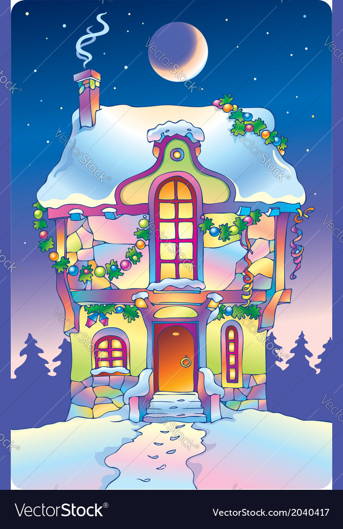 Fairy tale house under the moonlight vector | Price: 1 Credit (USD $1)