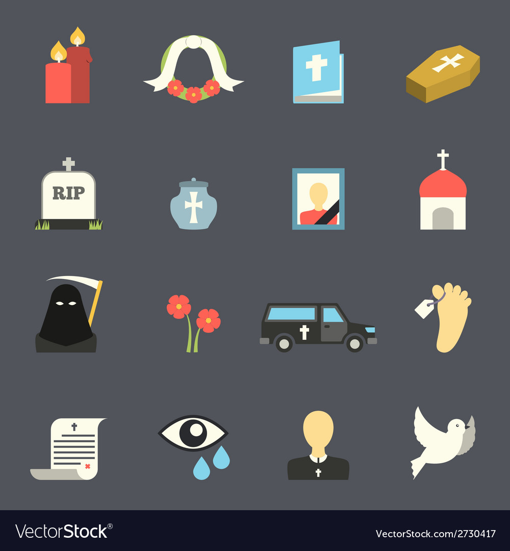 Funeral icons set vector | Price: 1 Credit (USD $1)