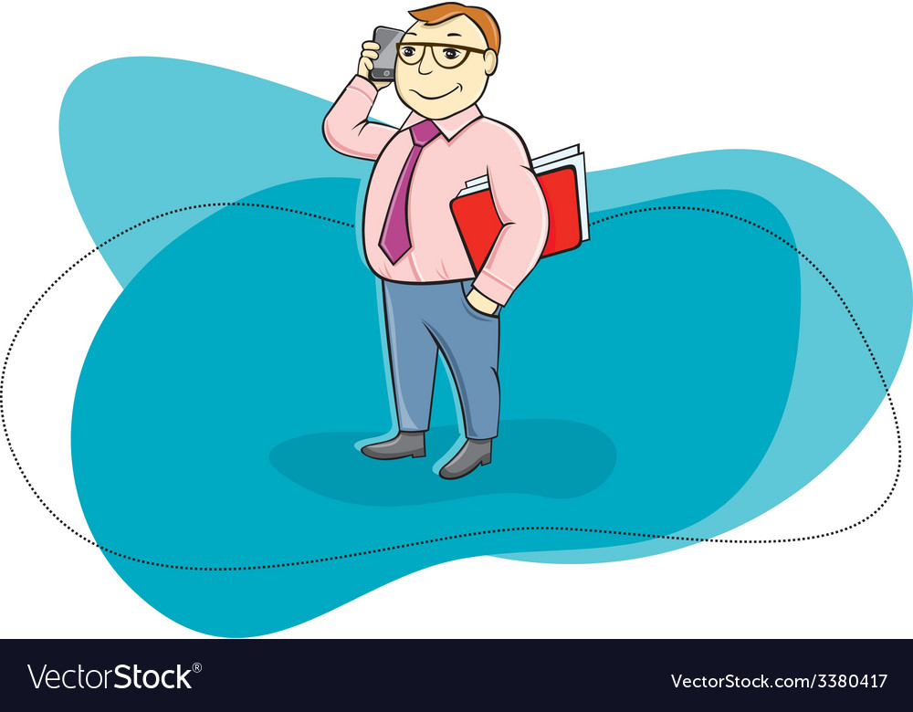 Happy businessman holding phone and talking vector | Price: 1 Credit (USD $1)