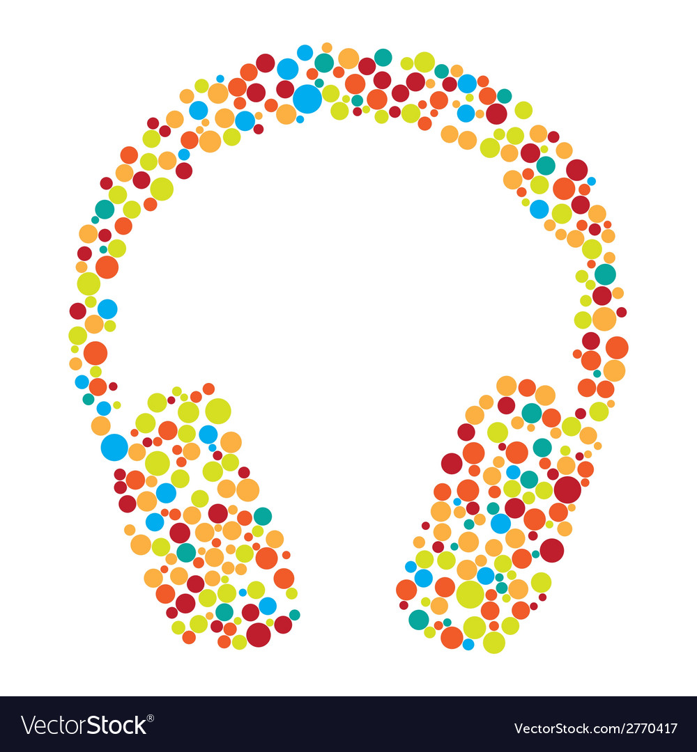 Headphones consist of dots vector | Price: 1 Credit (USD $1)