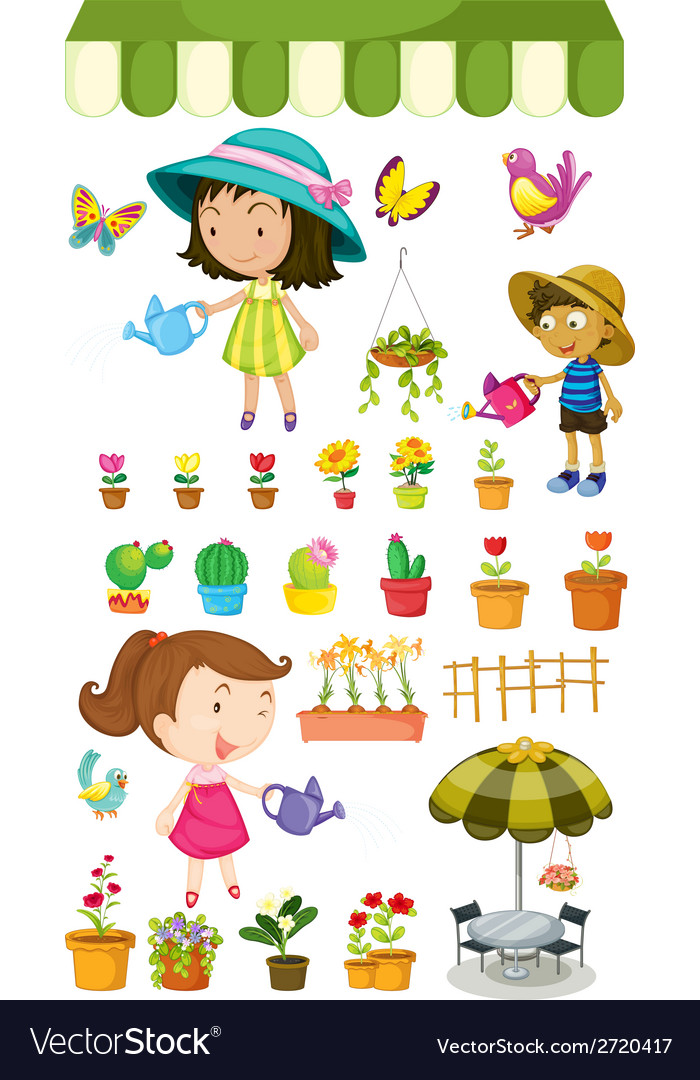 Kids watering the plants vector | Price: 1 Credit (USD $1)