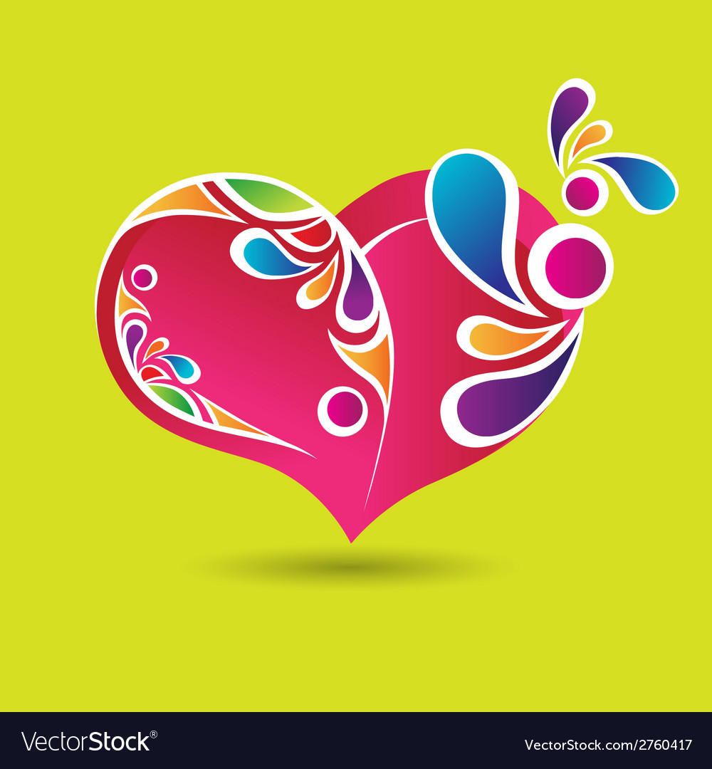 Pink heart with color elements vector | Price: 1 Credit (USD $1)
