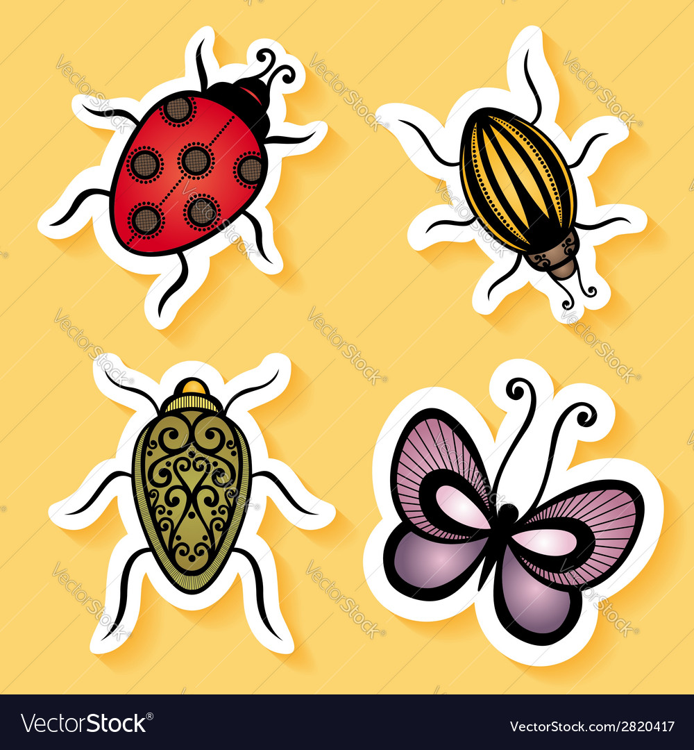 Set of stickers with ornamental insects vector | Price: 1 Credit (USD $1)