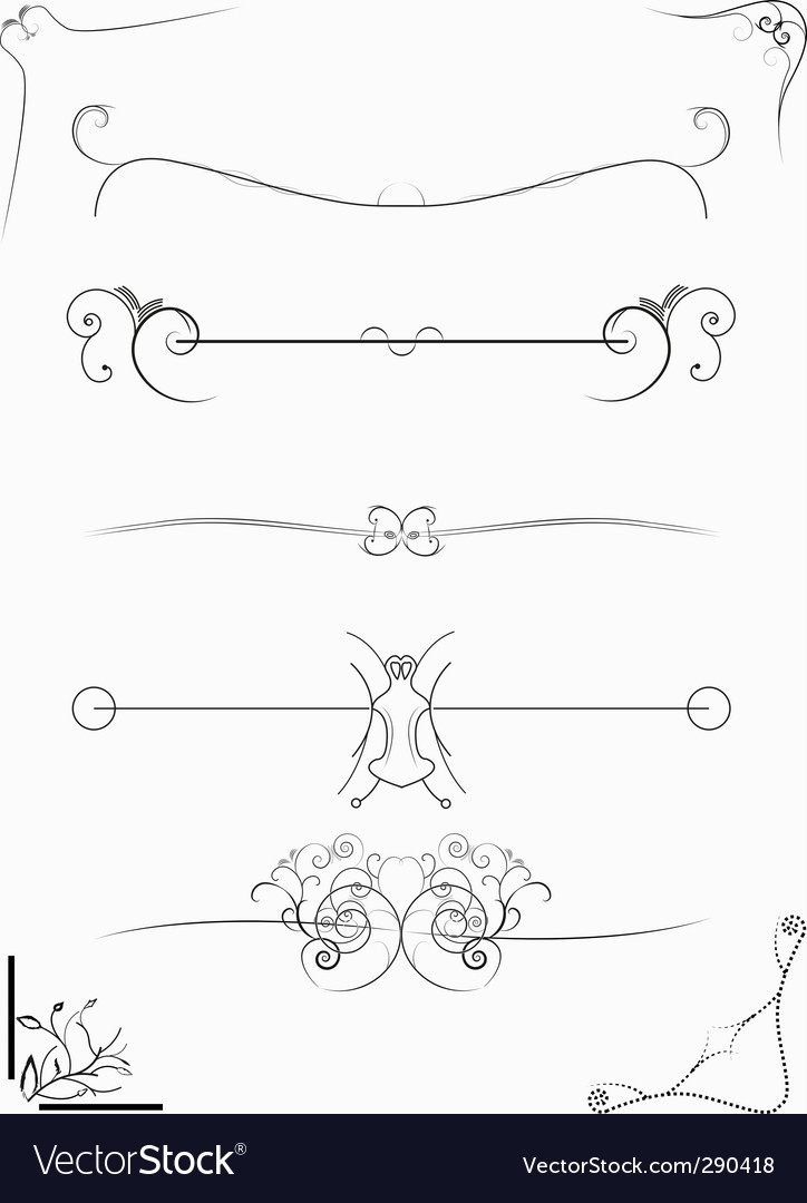 Abstract design elements borders frames vector | Price: 1 Credit (USD $1)