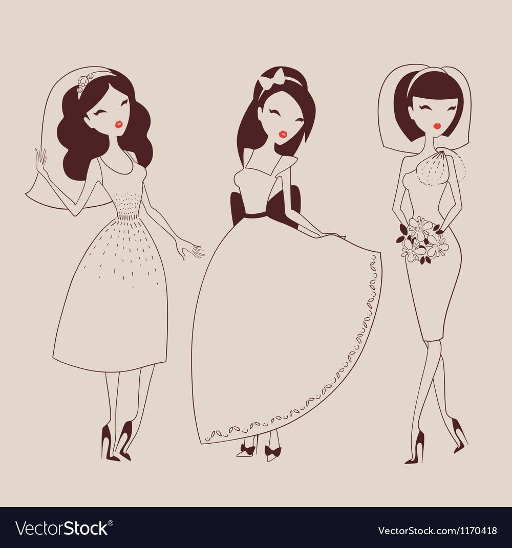 Beautiful brides vector | Price: 1 Credit (USD $1)