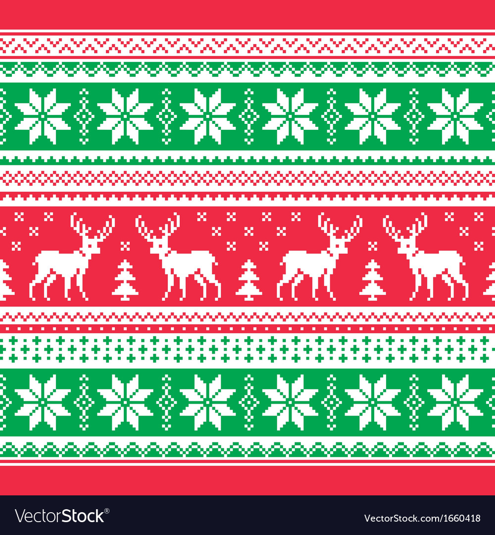 Christmas and winter knitted pattern card vector | Price: 1 Credit (USD $1)