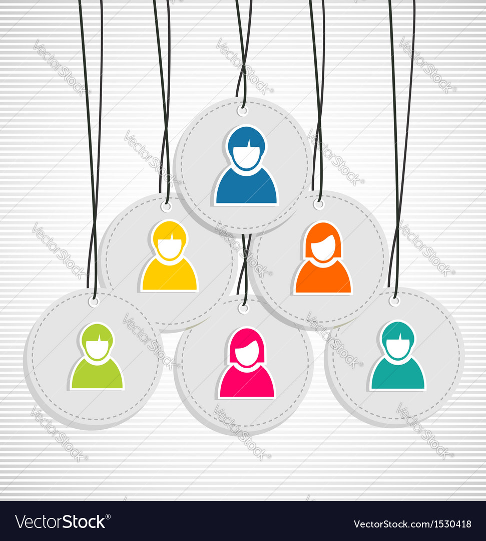 Colorful hanging team members badges vector | Price: 1 Credit (USD $1)