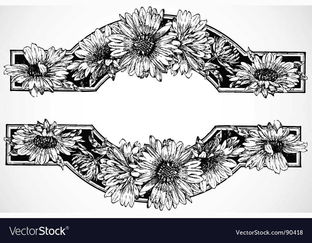 Daisy borders vector | Price: 1 Credit (USD $1)