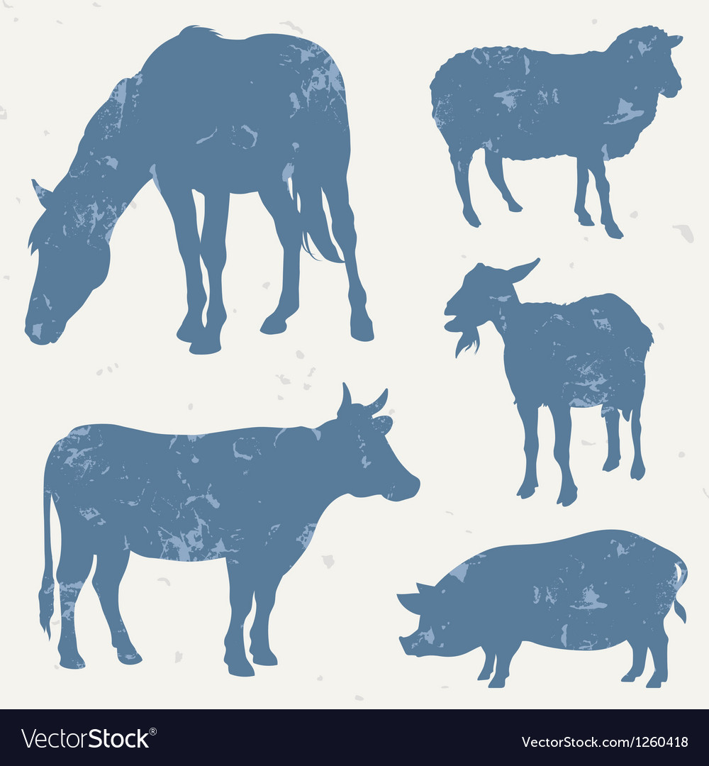 Farm animals with grunge effect vector | Price: 1 Credit (USD $1)