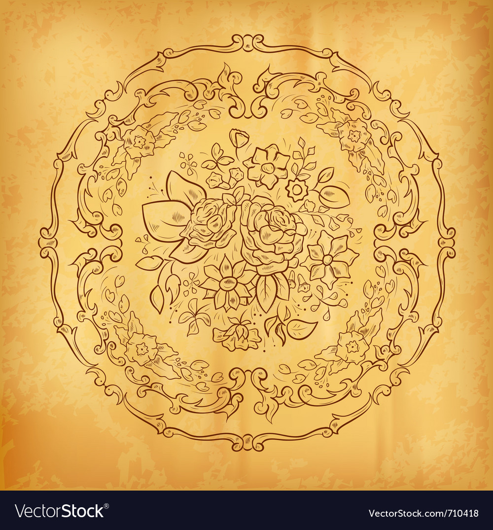Flower ornament on the old paper vector | Price: 1 Credit (USD $1)
