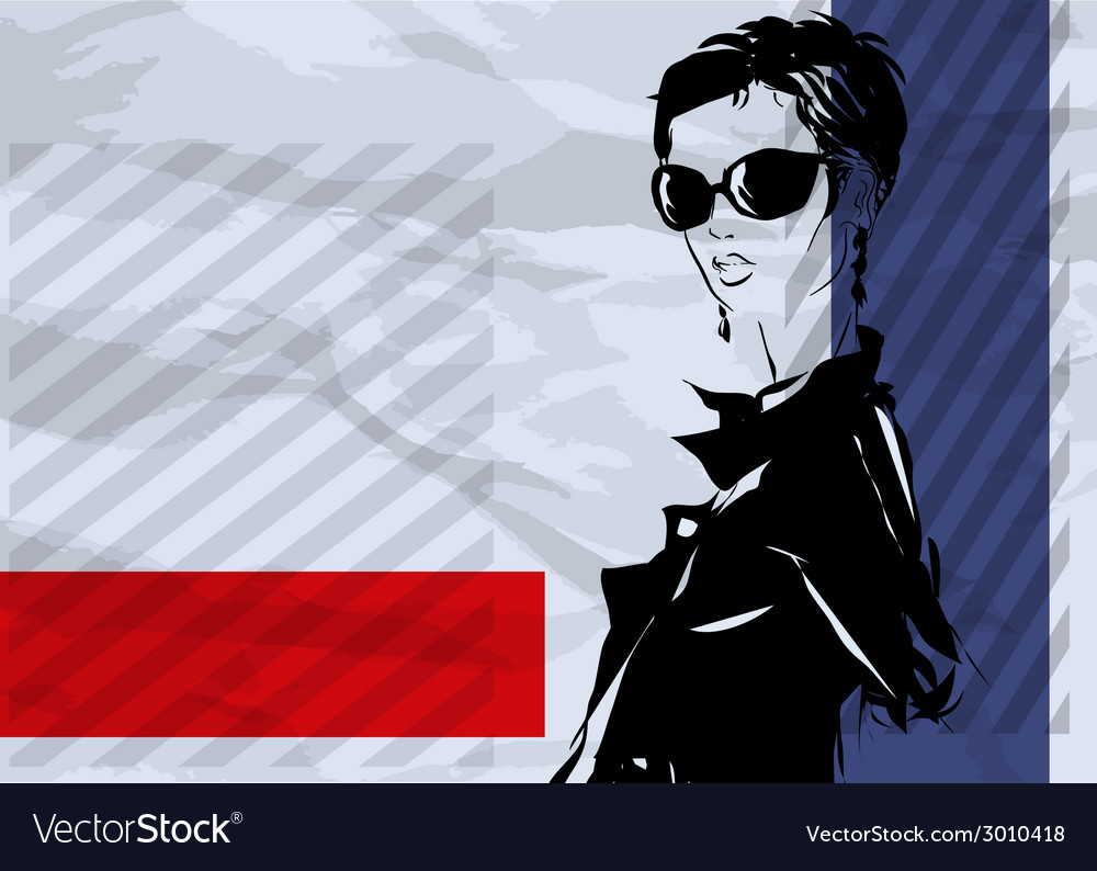 The girl with a short hairstyle and in an evening vector | Price: 1 Credit (USD $1)