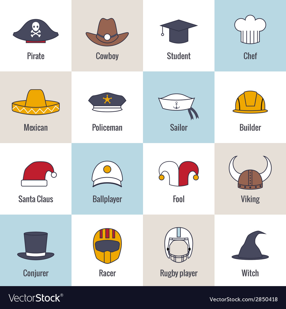 Icons hat flat line vector | Price: 1 Credit (USD $1)