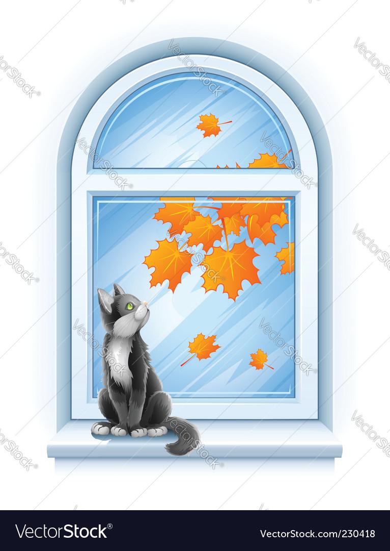Kitten on windowsill vector | Price: 3 Credit (USD $3)