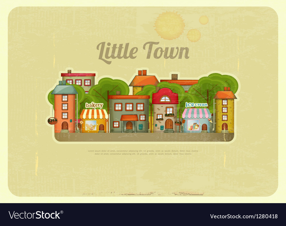 Little town retro background vector | Price: 3 Credit (USD $3)