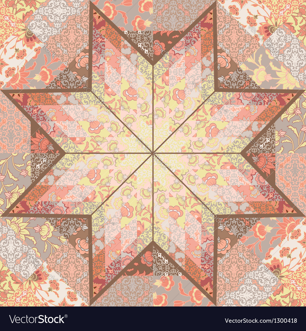 Quilt seamless pattern background star design vector | Price: 1 Credit (USD $1)