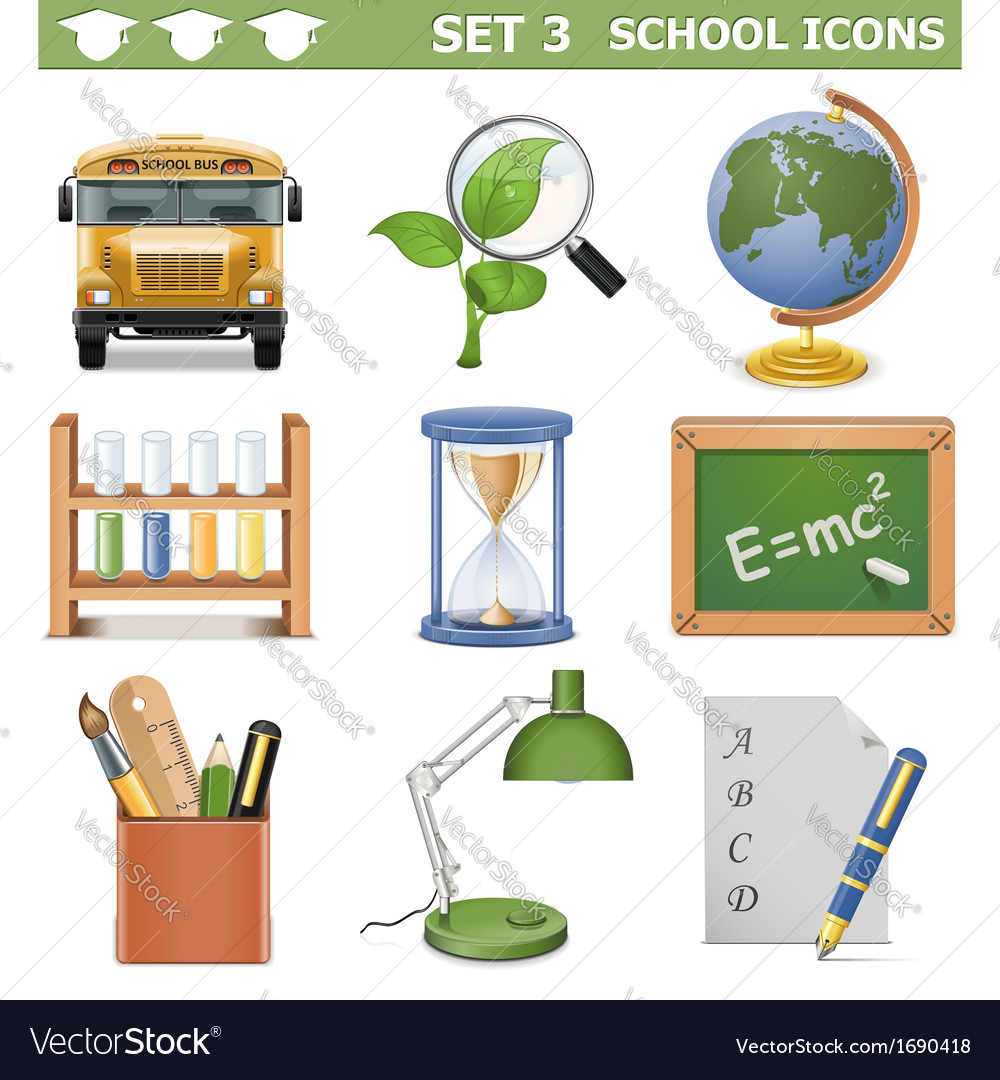 School icons set 3 vector | Price: 1 Credit (USD $1)