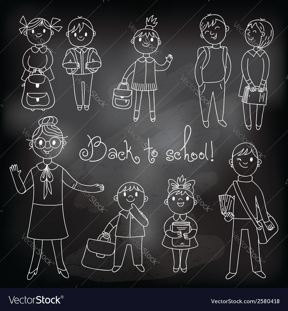 The teacher with the students drawing chalk vector | Price: 1 Credit (USD $1)