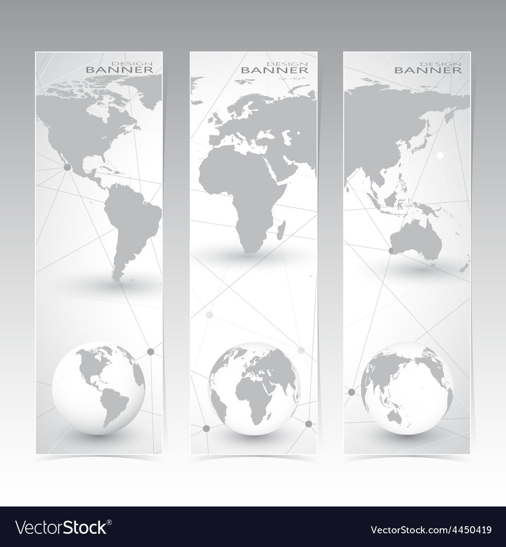 Collection vertical banner design world map and vector | Price: 1 Credit (USD $1)