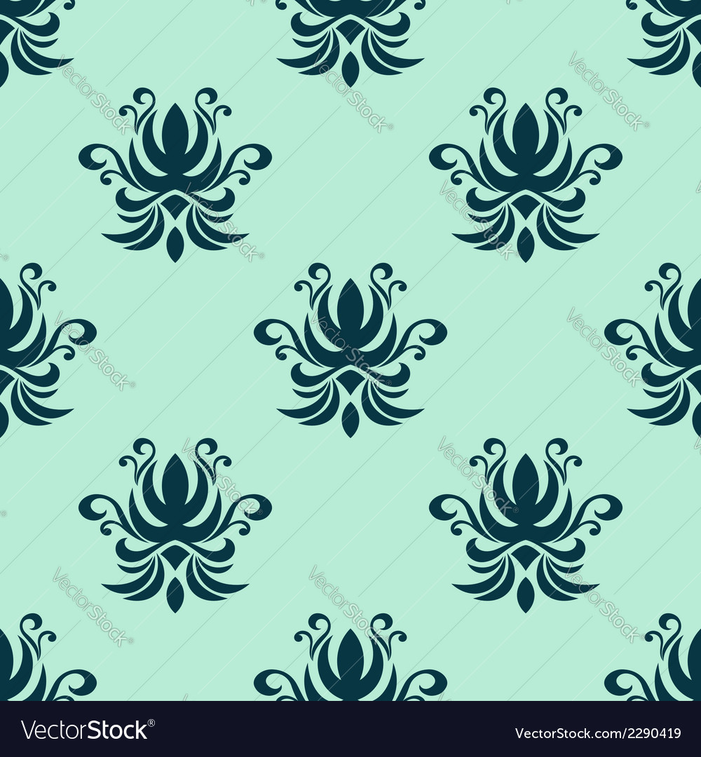 Cyan floral seamless pattern vector | Price: 1 Credit (USD $1)