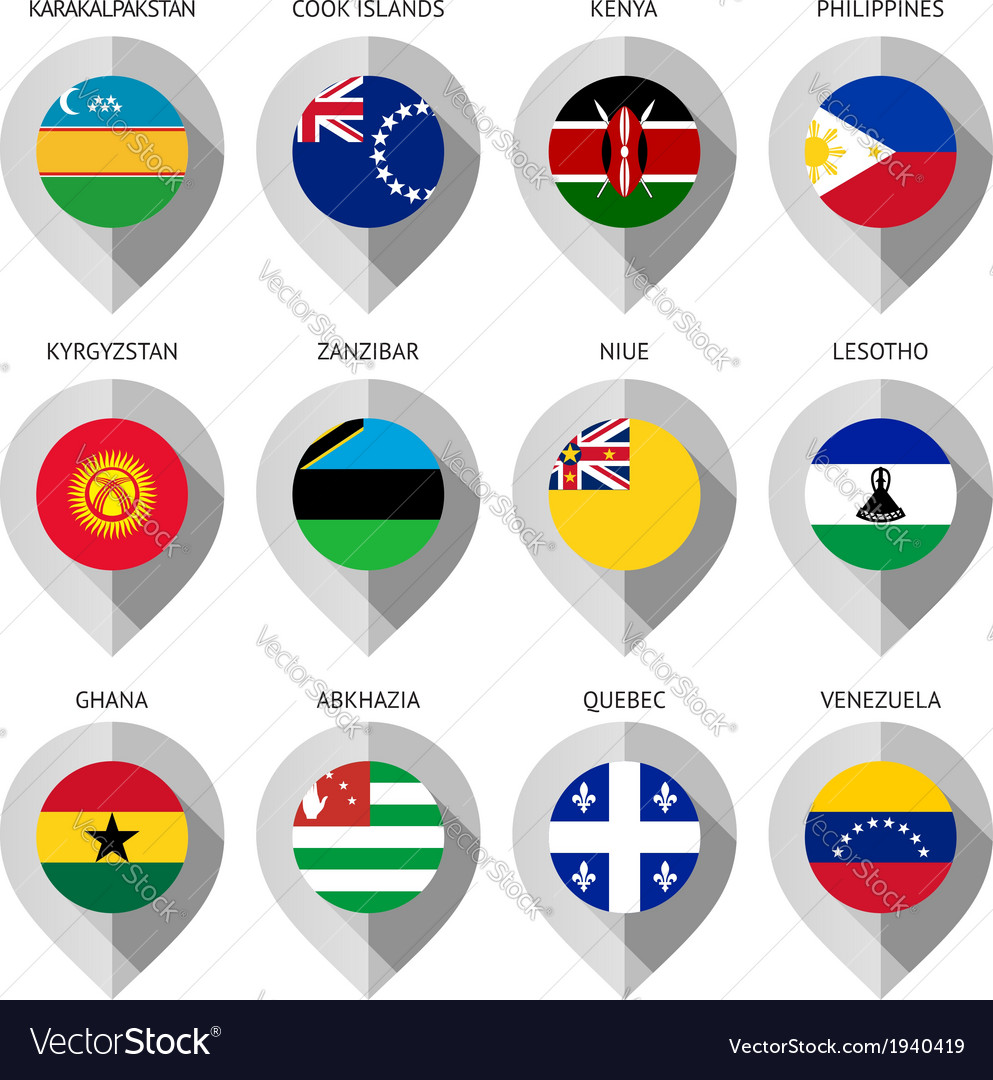 Marker from paper with flag for map - set sixteen vector | Price: 1 Credit (USD $1)
