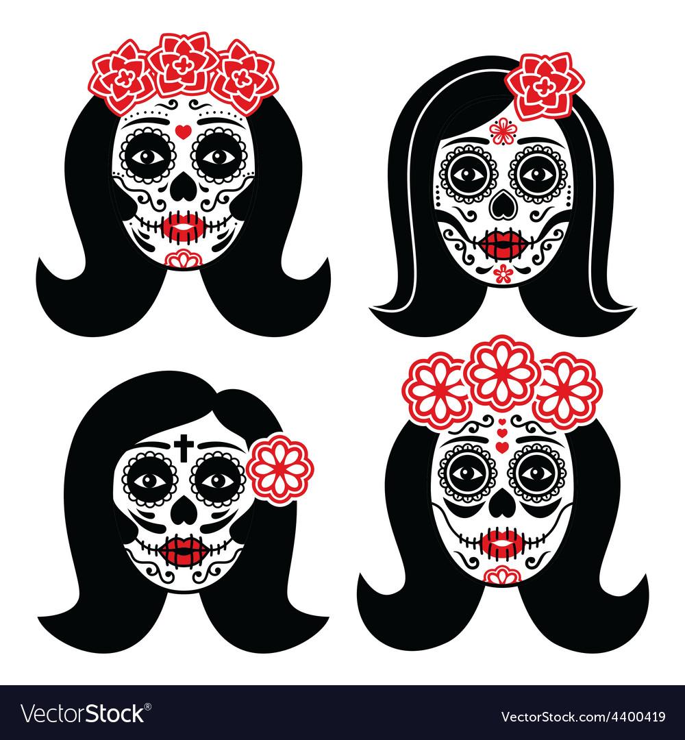 Mexican la catrina - day of the dead girl skull vector