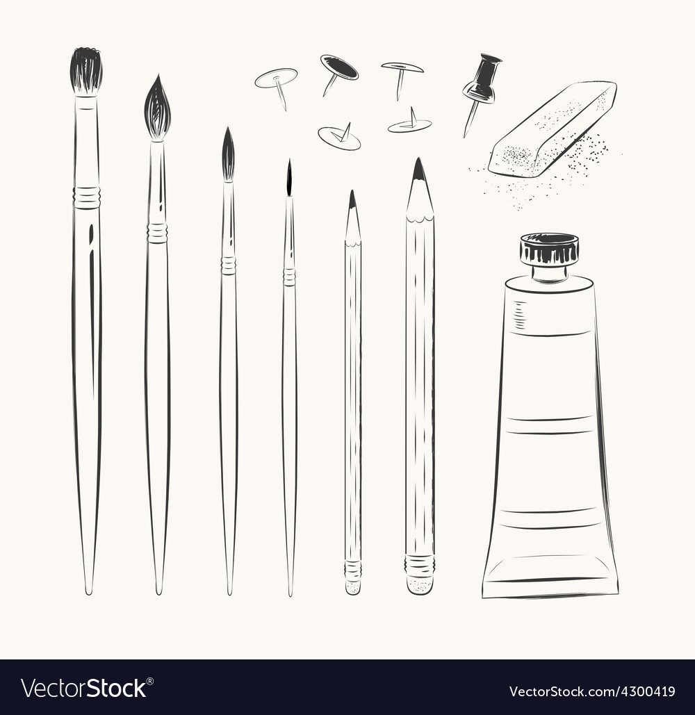 Set of art tools vector | Price: 1 Credit (USD $1)