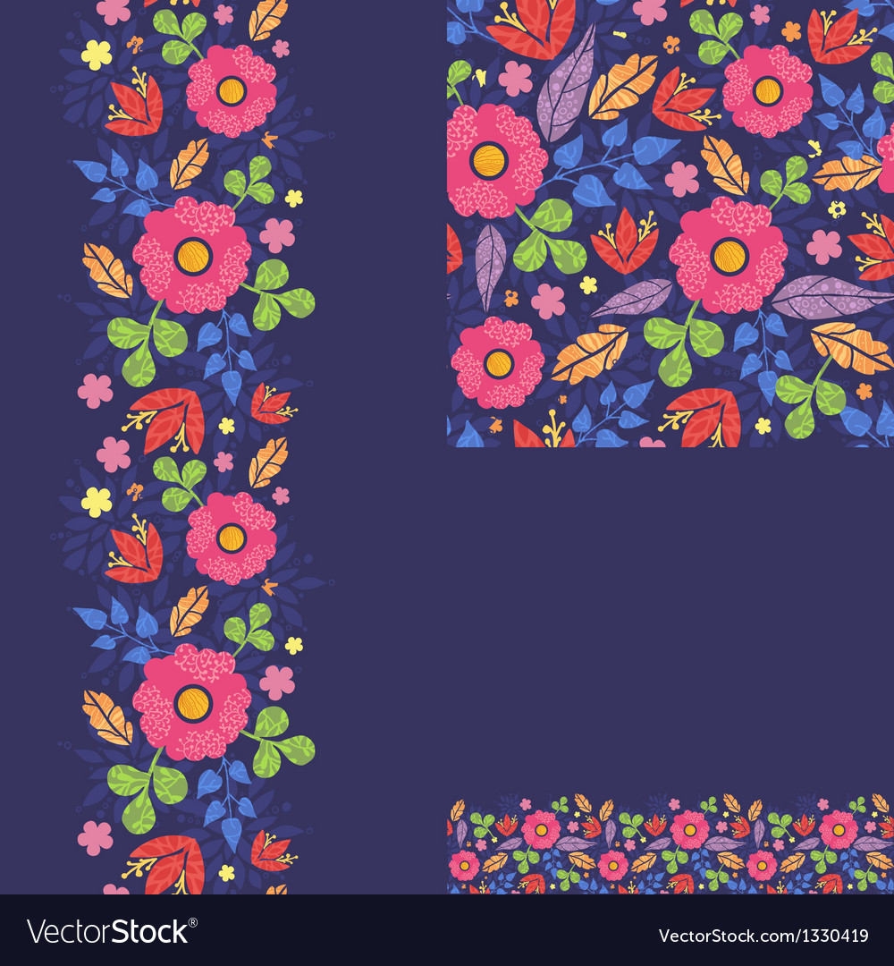 Set of summer night plants seamless pattern and vector | Price: 1 Credit (USD $1)