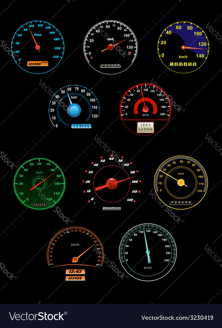 Speedometers set with dials and gauges with needle vector | Price: 1 Credit (USD $1)