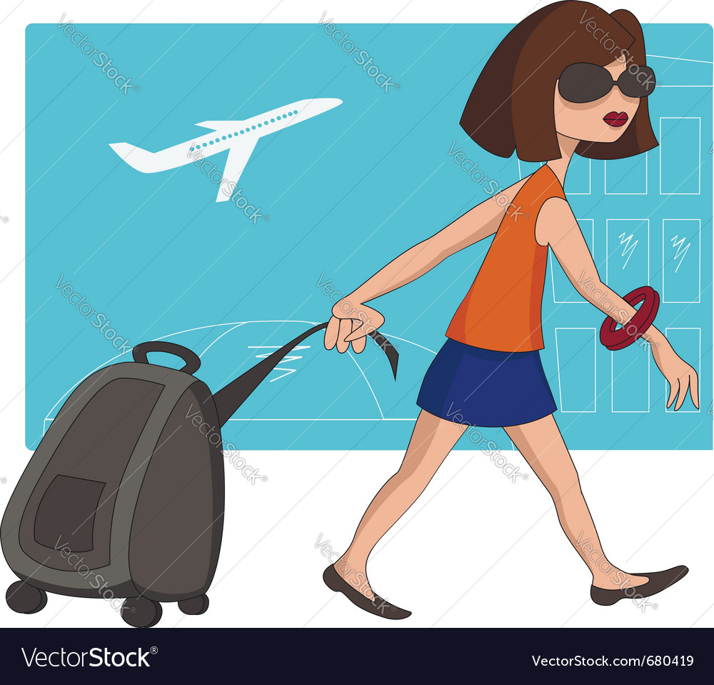 Travel girl at the airport vector | Price:  Credit (USD $)