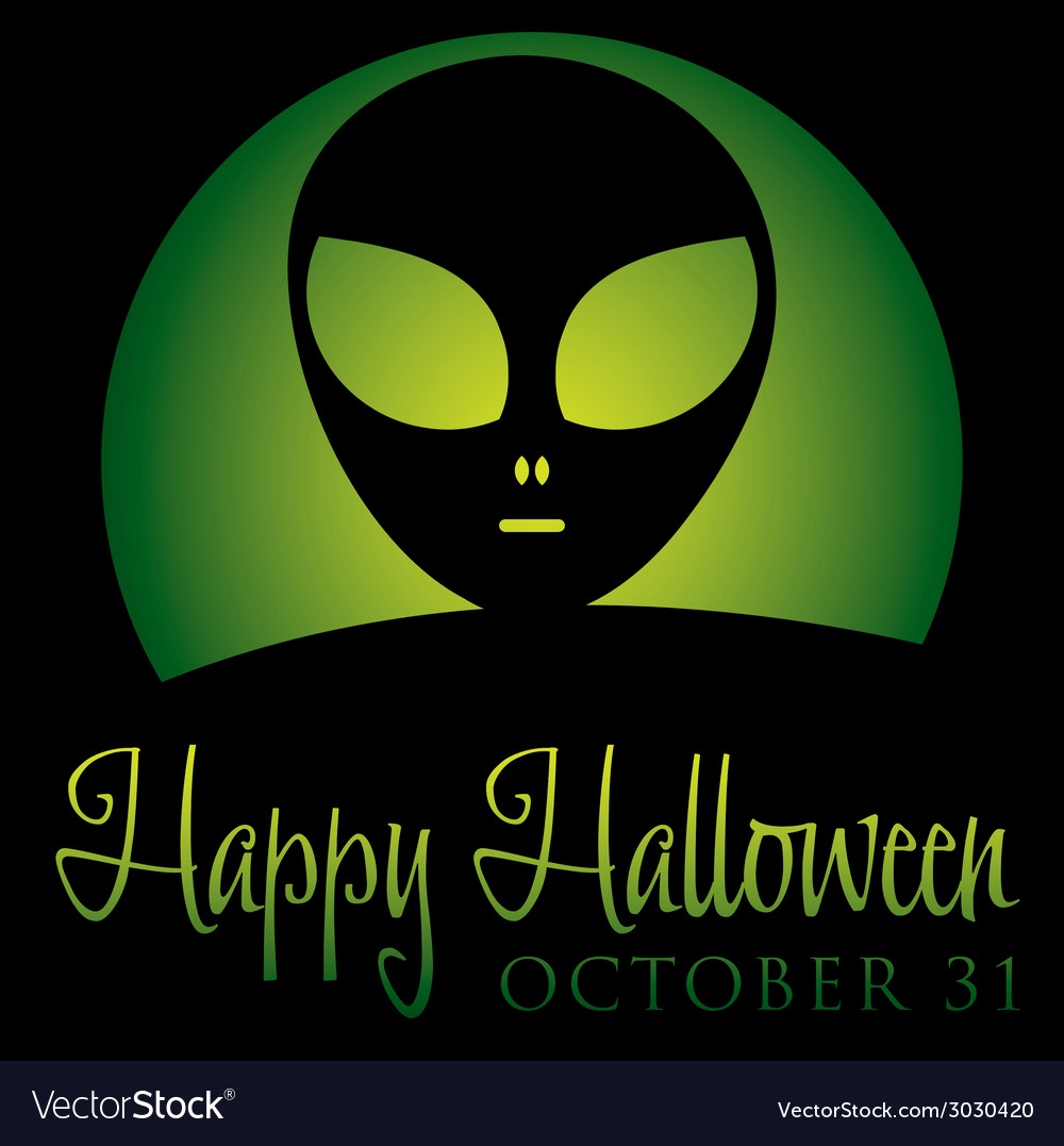Alien rising moon halloween card in format vector | Price: 1 Credit (USD $1)