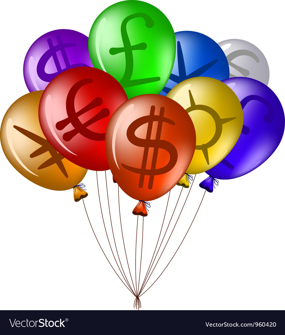 Balloons with currency signs vector | Price: 1 Credit (USD $1)