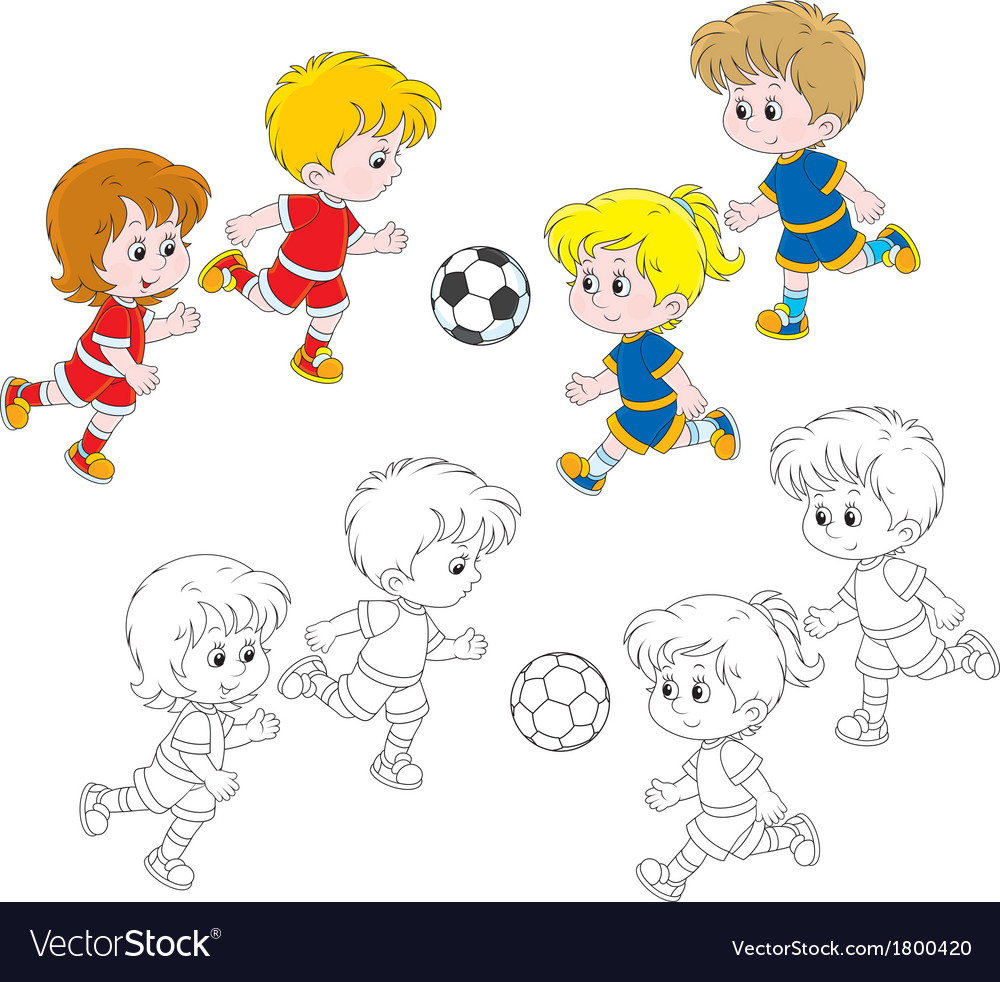Children playing football vector | Price: 1 Credit (USD $1)