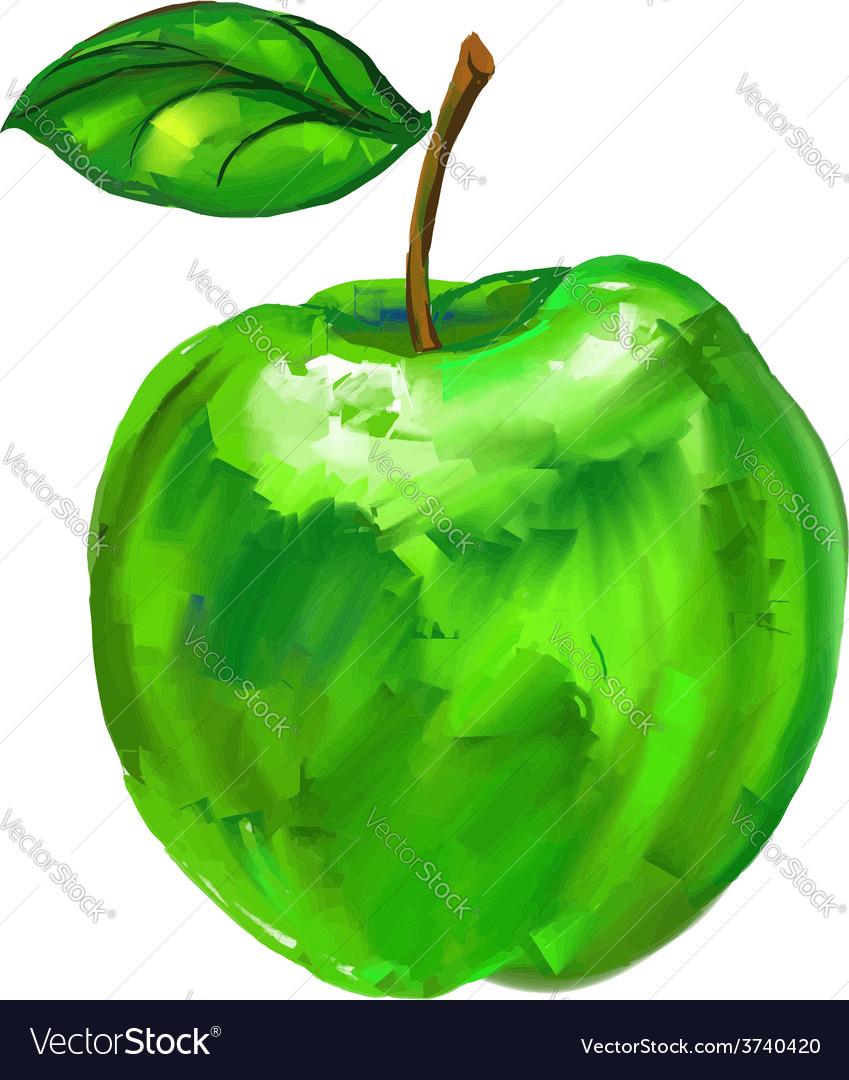 Green apple hand drawn vector   Price: 1 Credit (USD $1)