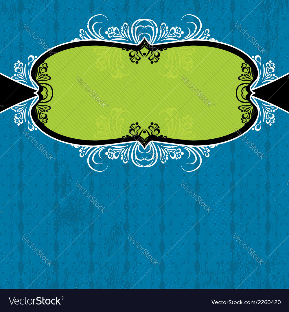 Green label on blue grunge background vector | Price: 1 Credit (USD $1)