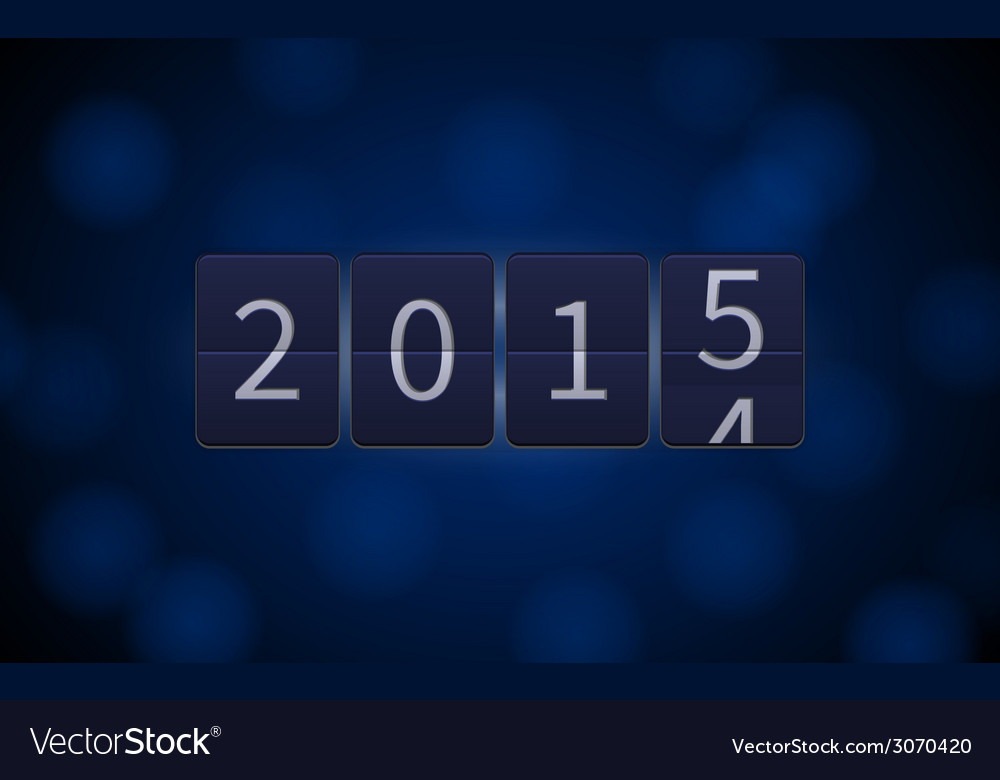 Happy new year 2015 digital clock light effects vector | Price: 1 Credit (USD $1)
