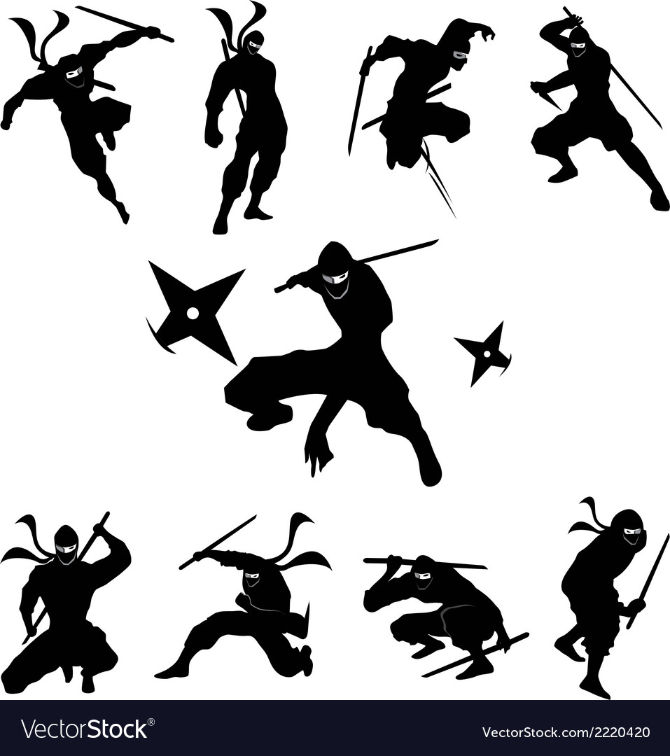 Ninja shadow siluate silhouette vector | Price: 1 Credit (USD $1)