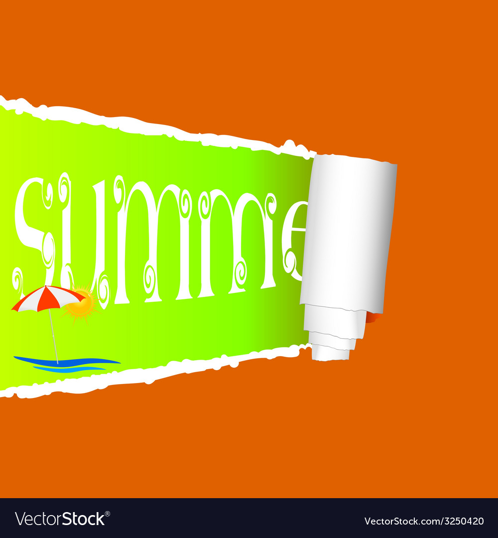 Tearing paper with sign of summer vector | Price: 1 Credit (USD $1)