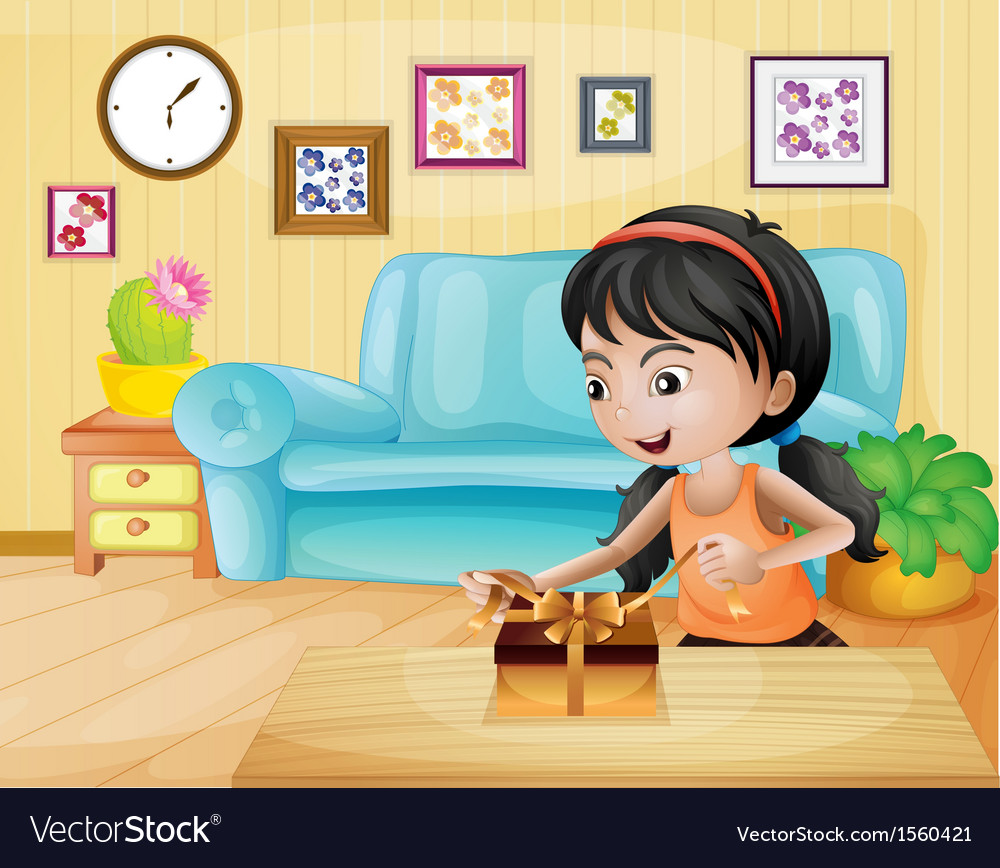 A lady opening her gift in the living room vector | Price: 3 Credit (USD $3)