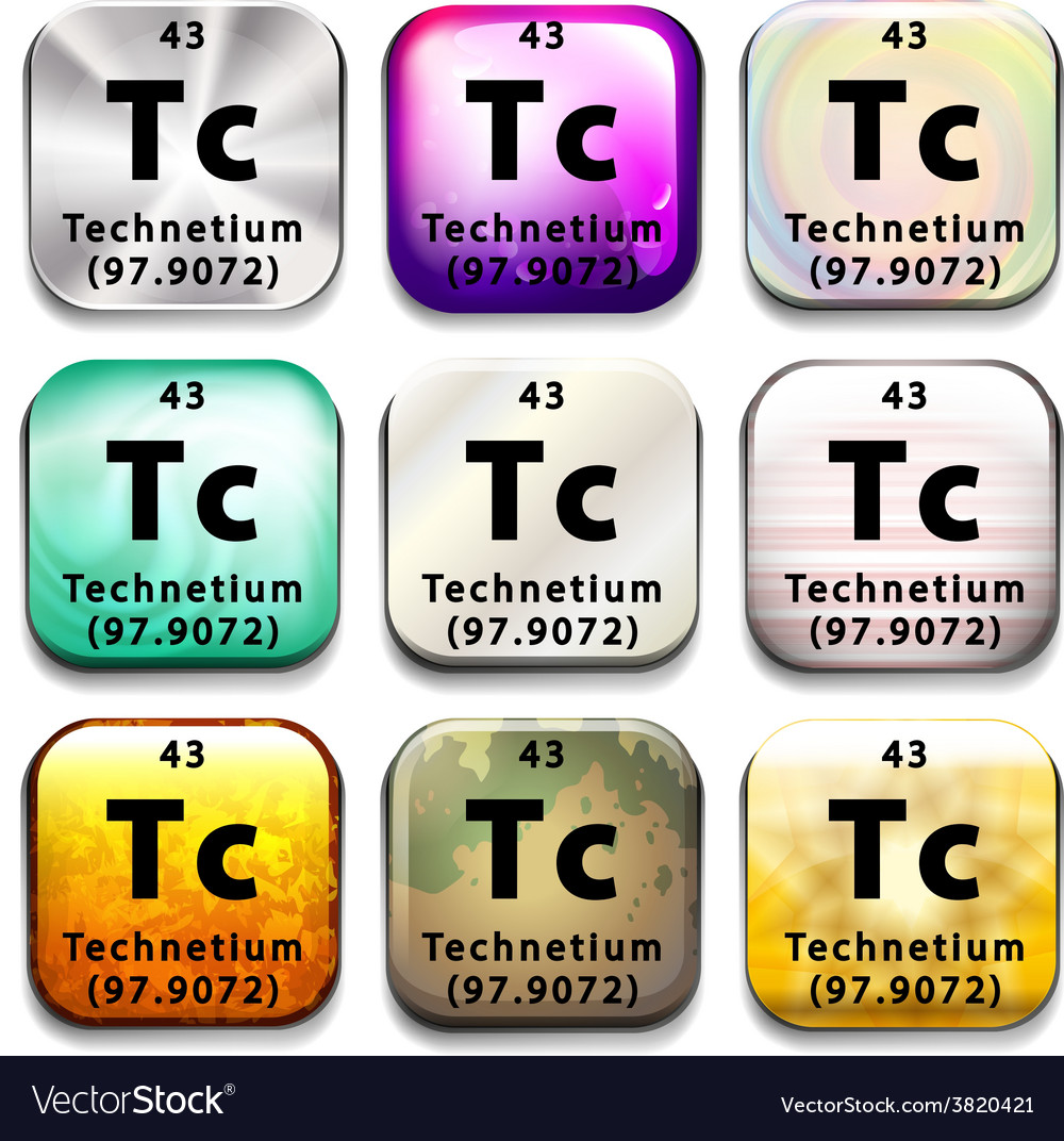 An icon showing the chemical technetium vector   Price: 1 Credit (USD $1)