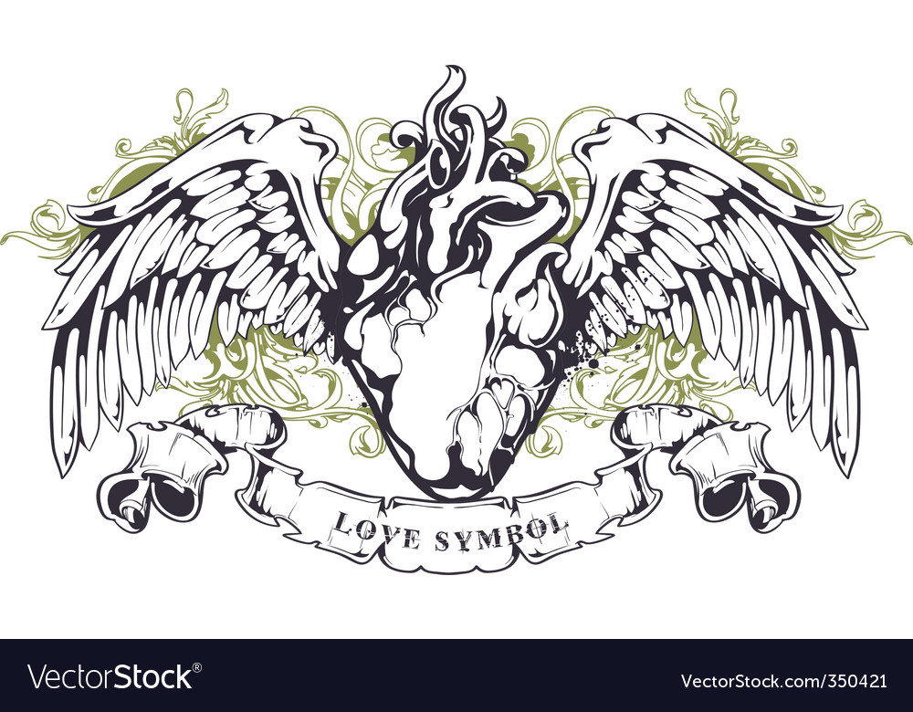 Anatomical heart with wings vector | Price: 1 Credit (USD $1)