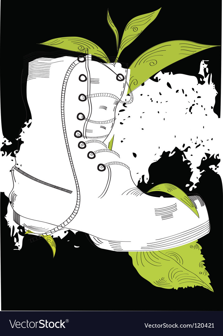 Background with boot and grass vector | Price: 1 Credit (USD $1)