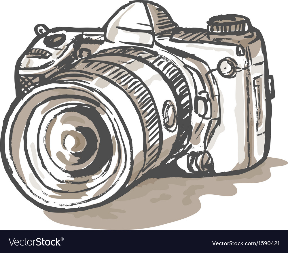 Drawing of a digital slr camera vector | Price: 1 Credit (USD $1)