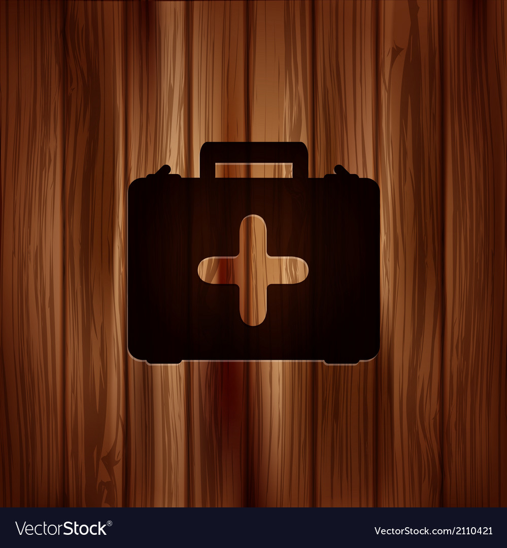 First aid kit icon wooden background vector | Price: 1 Credit (USD $1)