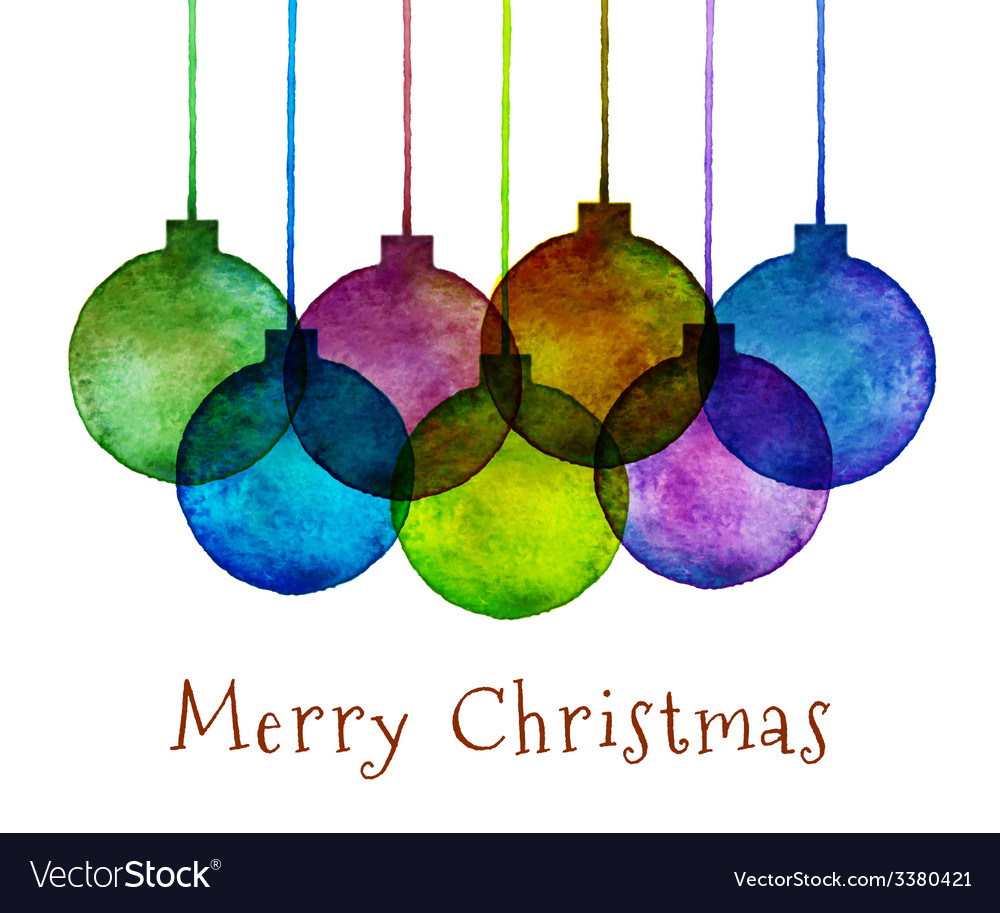 Group of watercolor hand drawn christmas balls vector | Price: 1 Credit (USD $1)