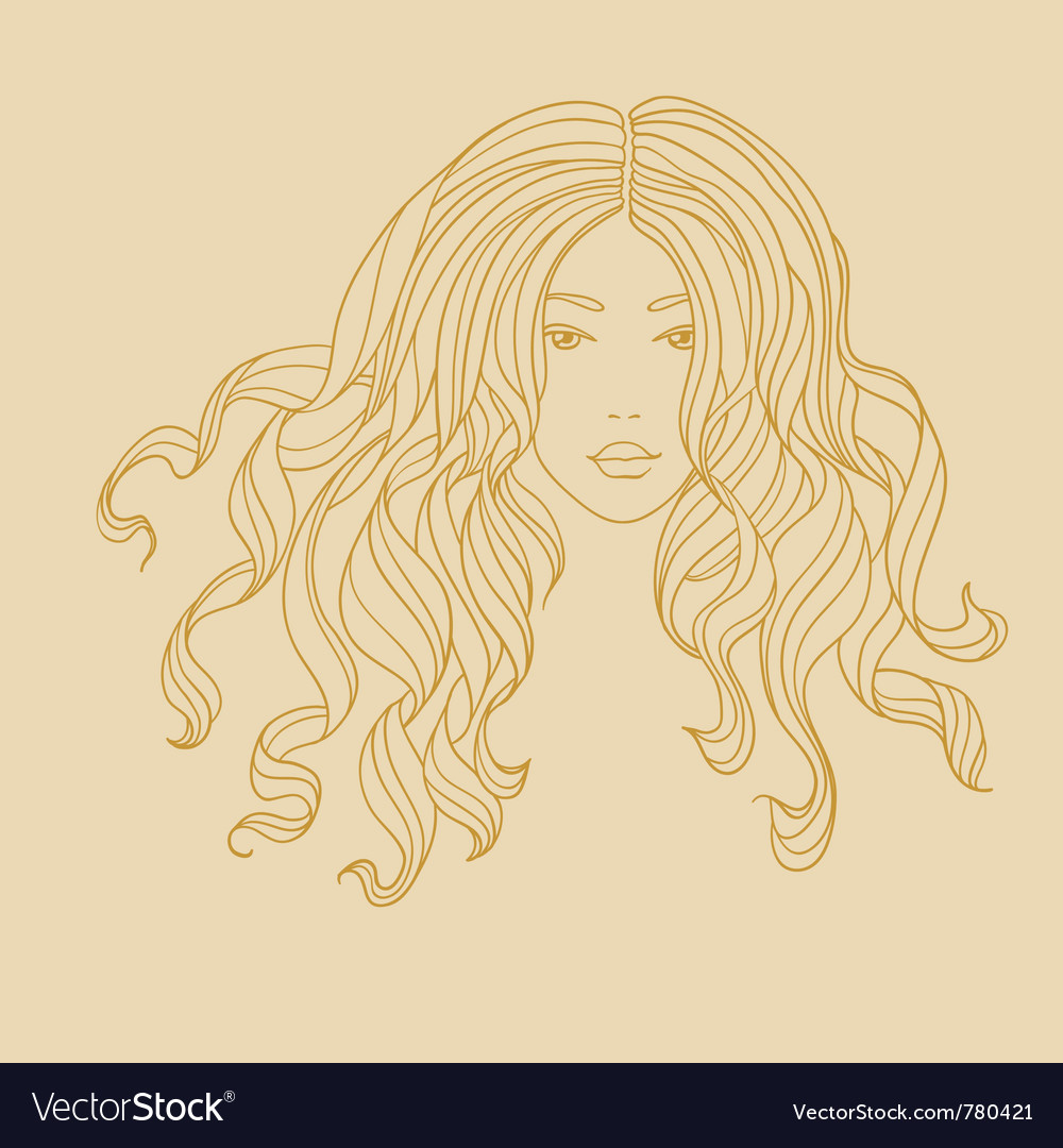 Portrait of a girl with long curly hair vector   Price: 1 Credit (USD $1)
