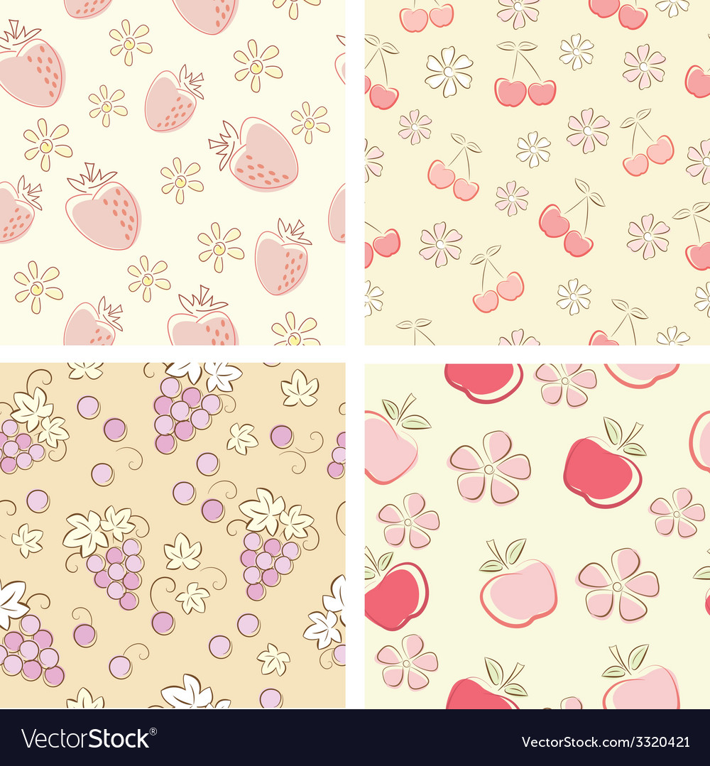 Set if fruit retro seamless patterns vector | Price: 1 Credit (USD $1)
